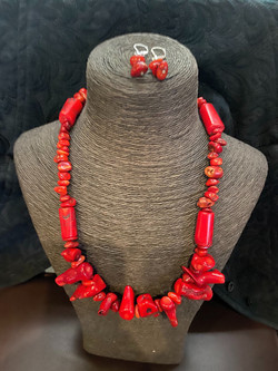 Red Coral Necklace with earrings-$100 set