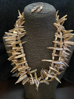 Jagged Mother of Pearl 3 Strand Necklace with Earrings set-$150