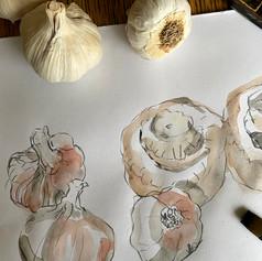 mushrooms and garlic