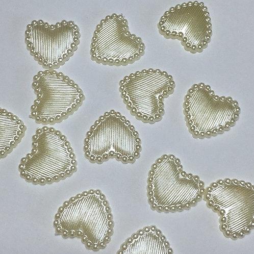 50 x 13mm flat ivory hearts
