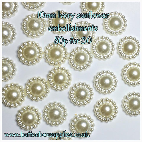 30 x 10mm ivory sunflower embellishments