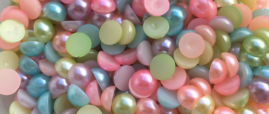 Mixed Colour Flatback pearls - various sizes