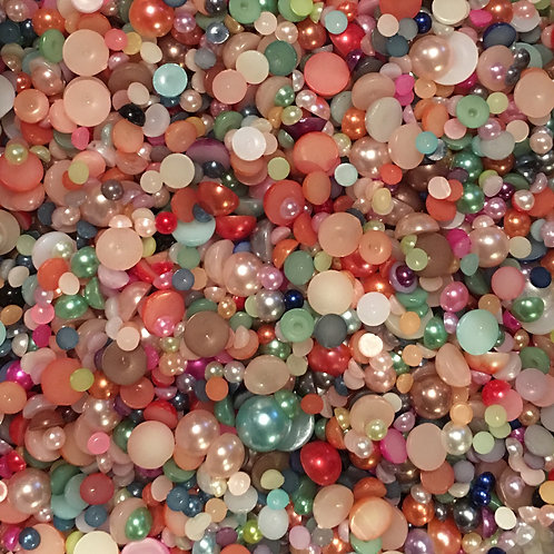 30g mixed size and colour pearls