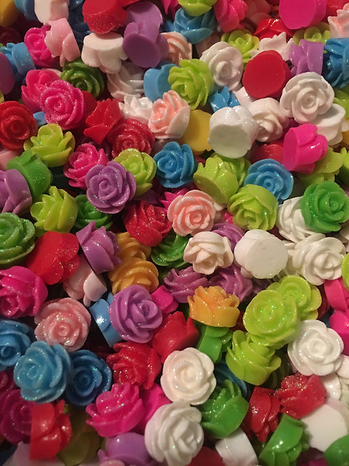 20 x 12mm resin flowers with shimmer