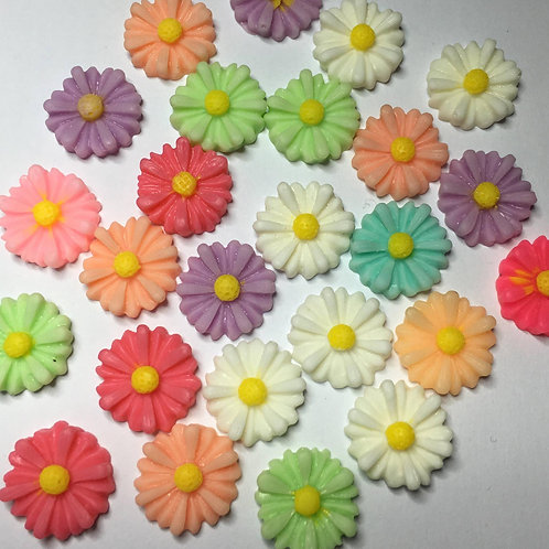 Resin daisy flowers - 13mm