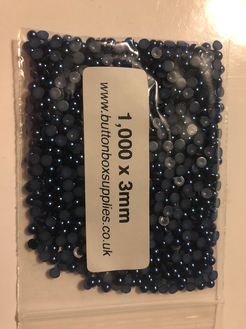 1,000 x 3mm dark blue pearls