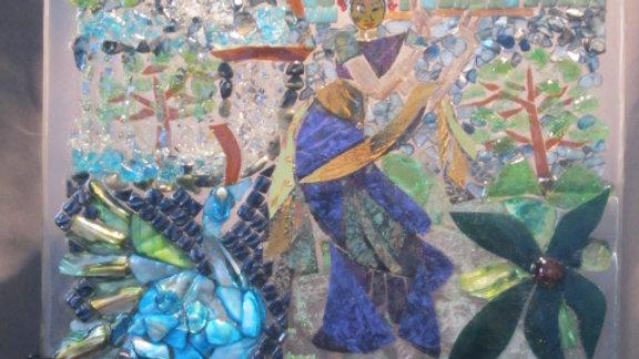 Saraswati Essence of Bali Music art glass mosaic