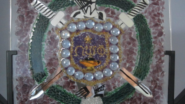 Omega Emblem artwork glass mosaic