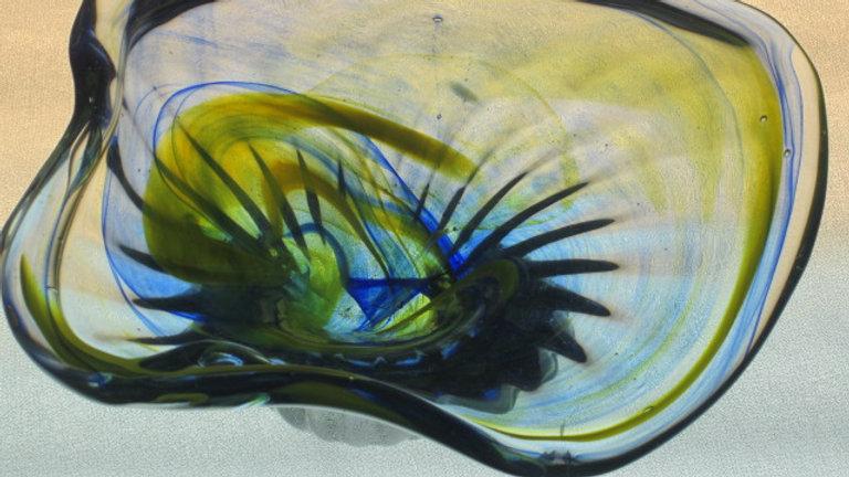 Light Blue Med Wide Bowl glass art mosaic