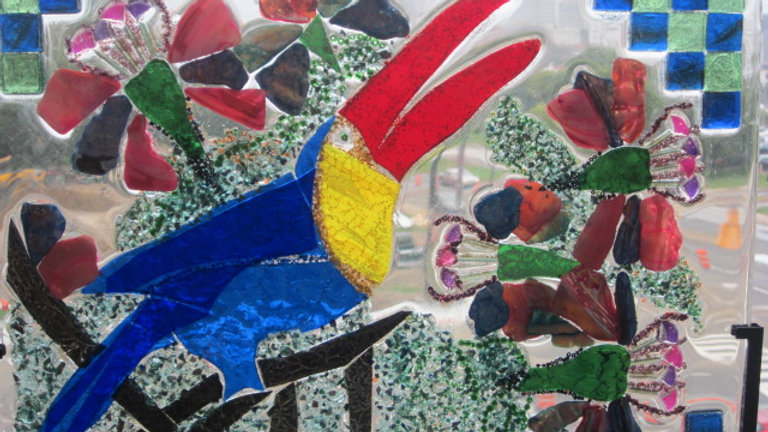 Toucan art glass mosaic