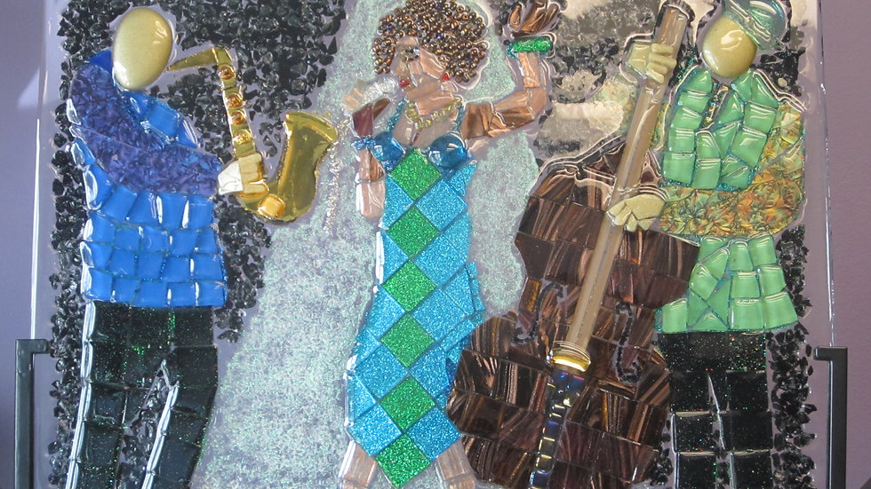 lady sings the blues mosaic glass art