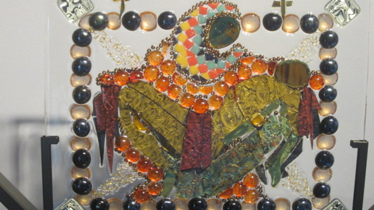 Mary and Crucified Jesus artwork glass mosaic