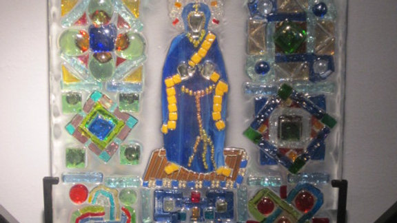 Hail Mary art mosaic glass