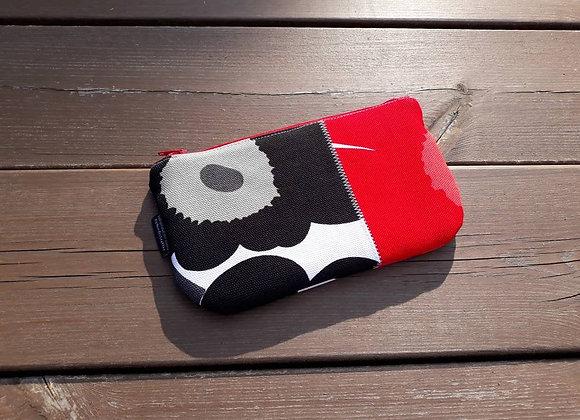 Patchwork flat zipper pouch from Marimekko fabric