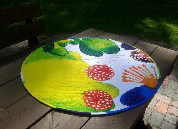 Colorful round table topper from Marimekko fabric Juhannustaika
