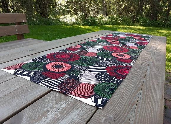 Modern table runner from Marimekko fabric Pieni Siirtolapuutarha
