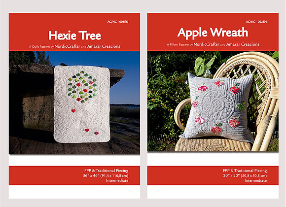 Hexie Tree Quilt and Apple Wreath Pillow patterns, A4 format