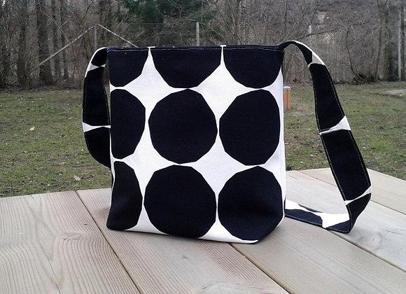 Black and white cross body bag from Marimekko fabric Pienet Kivet