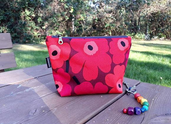 Waterproof zip pouch from Marimekko fabric Unikko