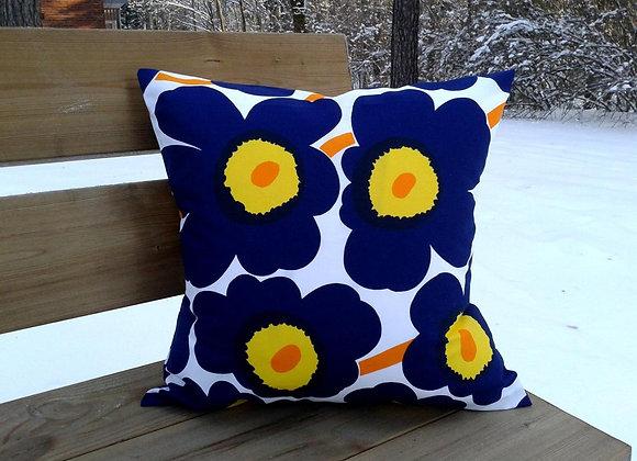 Navy blue pillow cover from Marimekko fabric Pieni Unikko