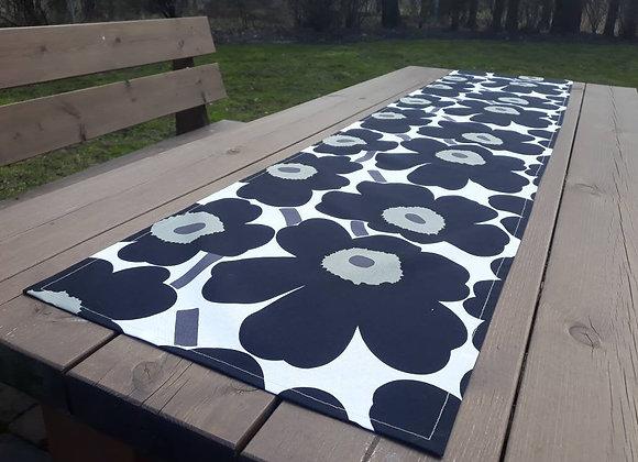 Black and white table runner from Marimekko fabric Pieni Unikko