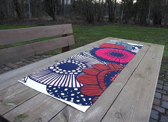 Red oranger table runner from Marimekko fabric Siirtolapuutarha