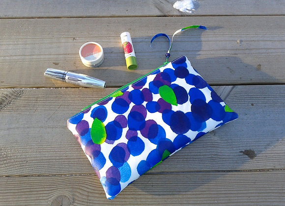 Waterproof makeup bag from Marimekko oilcloth fabric Mustikkamaa