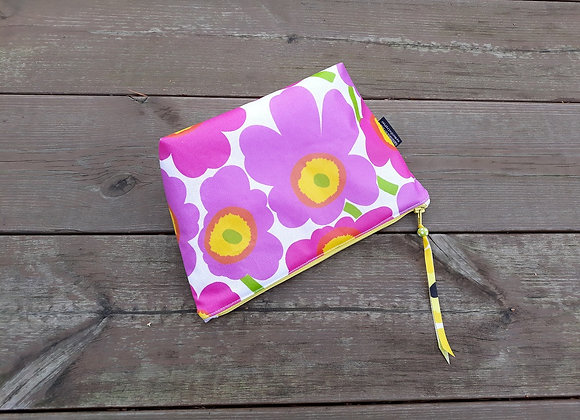 Pink waterproof makeup bag from Marimekko oilcloth fabric Unikko
