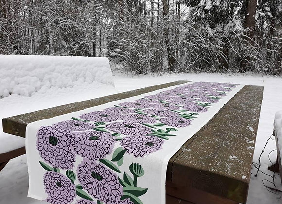Long lilac table runner from Marimekko fabric Primavera