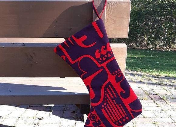 Christmas stocking from Marimekko fabric Kanteleen Kutsu