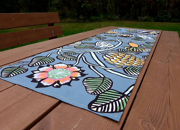 Gray floral table runner from Marimekko linen fabric Tiara