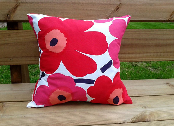 Red pink pillow cover from Marimekko fabric Pieni Unikko