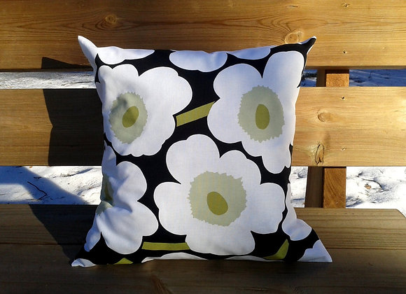 Black white green pillow cover from Marimekko fabric Pieni Unikko