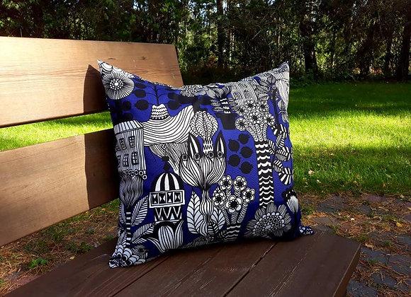 Blue pillow cover from Marimekko fabric Lintukotonen