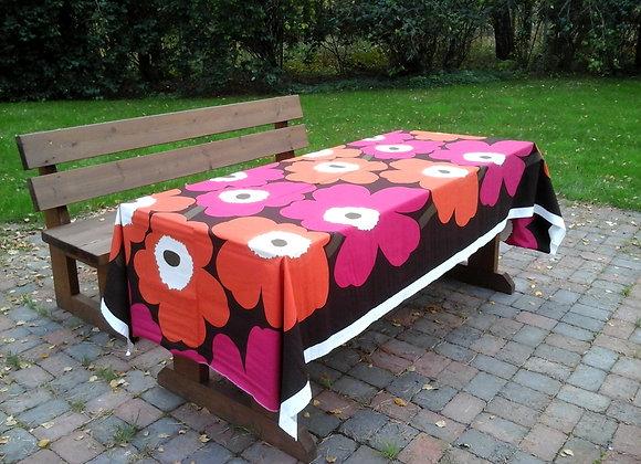 Pink orange retro tablecloth from Marimekko fabric Unikko
