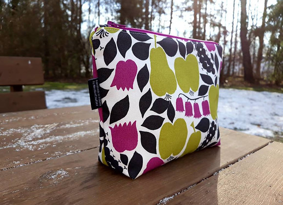 Pink green zip pouch from Marimekko fabric