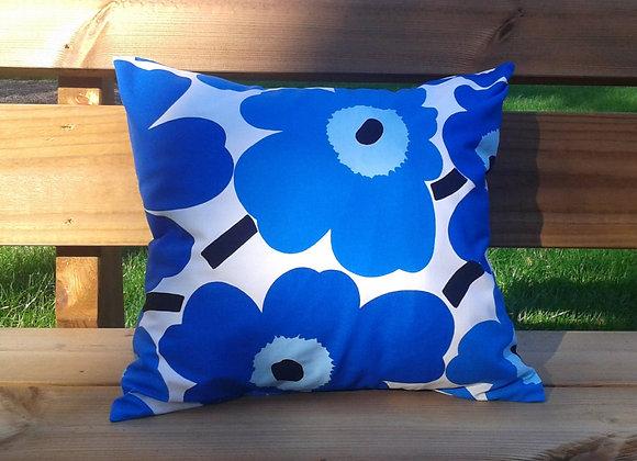 Blue pillow cover from Marimekko fabric Pieni Unikko