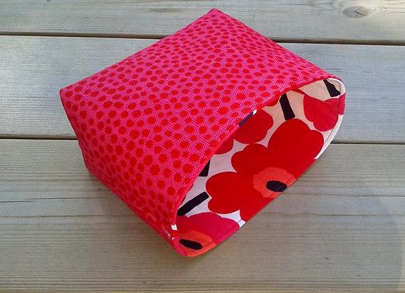 Pink waterproof basket from Marimekko fabric Pirput parput