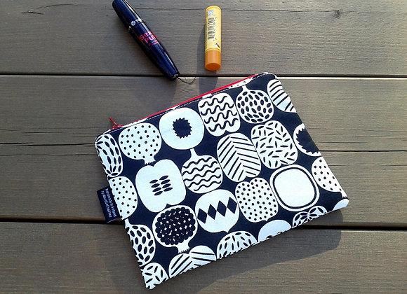 Black and white zip pouch from Marimekko fabric Kompotti