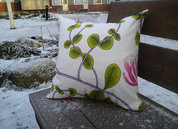 Green pink pillow cover from Marimekko fabric Kuusama