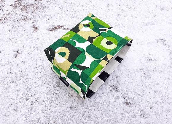 Small green waterproof basket from Marimekko fabric