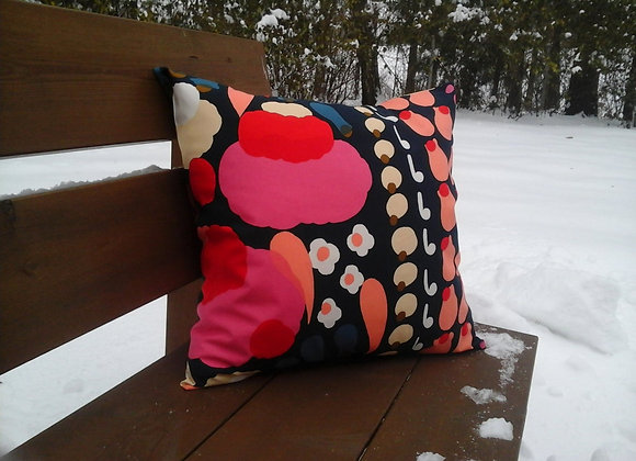 Pink floral pillow cover from Marimekko fabric Tuppura