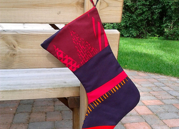Red purple Christmas stocking from Marimekko fabric Kultakero