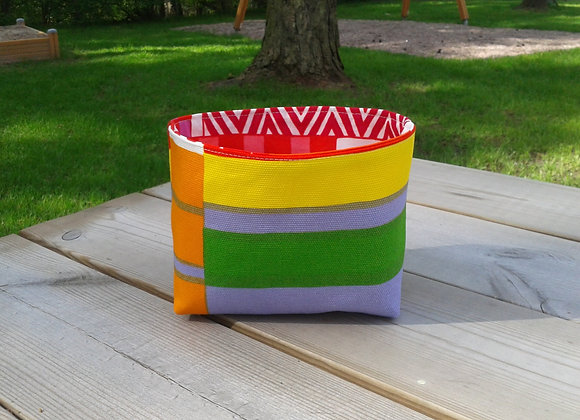 Striped basket from Marimekko fabric