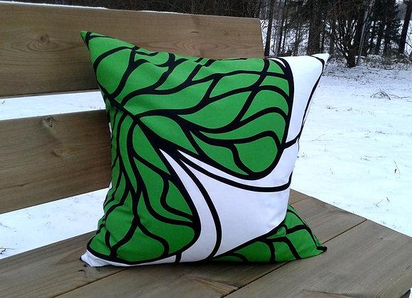 Green pillow cover from Marimekko fabric Bottna