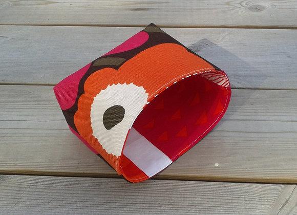 Orange pink basket from Marimekko fabric Pieni Unikko