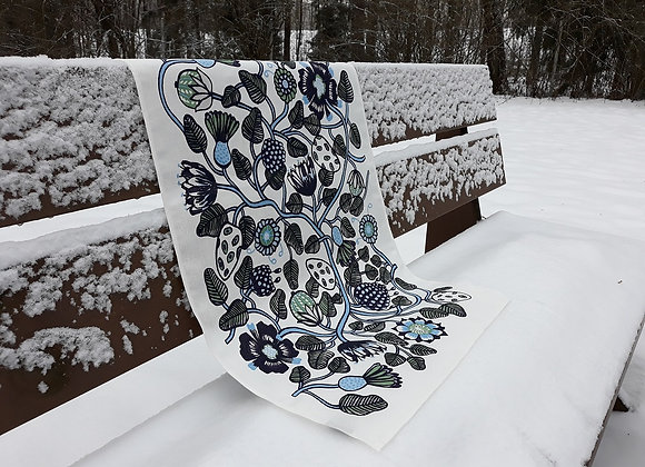 Linen tea towel from Marimekko fabric Tiara