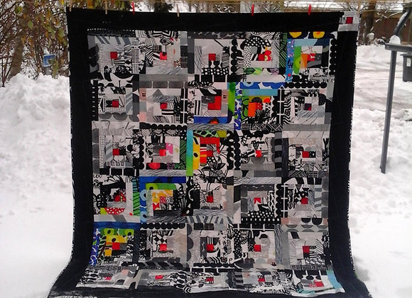 Modern black and white quilt from Marimekko fabric,twin size
