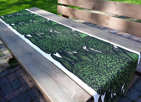 Long green table runner from Marimekko fabric Hyasintti