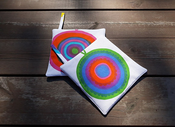 Colorful pot holders from Marimekko fabric Lappuliisa